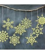 Hanging Snowflake Christmas Ornaments Gold Glitter Decoration Tree Decor... - $9.49