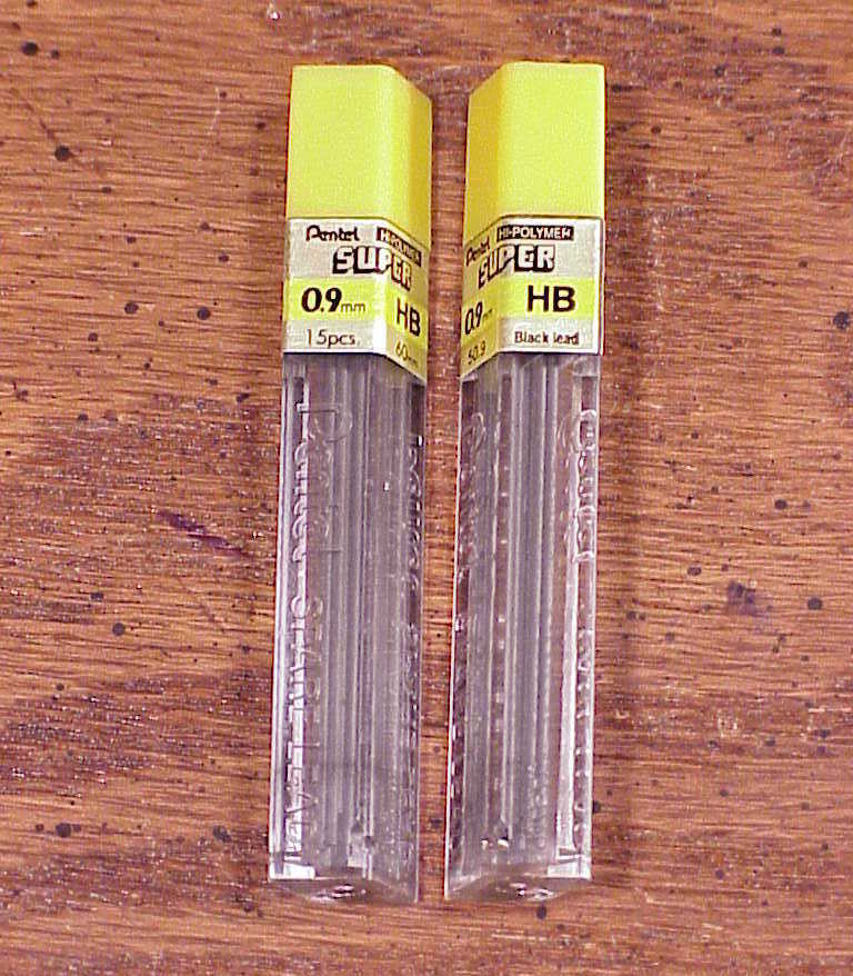 Lot of 2 Packs of Pentel Hi-Polymer Super .09 mm HB Leads