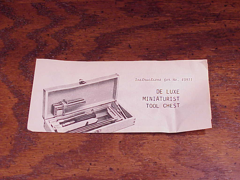 Instruction Sheet for Xacto De Luxe Miniaturist Tool Chest