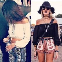 Fashion Women Casual Boho Crop Top Chiffon Sexy Off Shoulder Summer Shirt Blouse