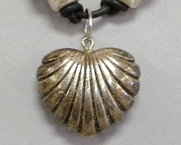 Silver Heart Pendant Grey Clay Bead Black Cord Necklace Handcrafted Jewelry