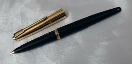 Parker 45 Fountain Pen Blue Gold Fine Nib 12k Gold Filled Cap Made In USA - $123.75