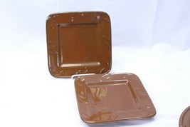 "Signature Sorrento Salad Plates Square 9"" Chocolate Brown Lot of 2 - $22.53"