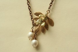 Mixed Pearl Necklace with Leaf Branch  - $36.00