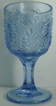 "Light Blue Palm Leaf Design Goblet 6 1/4"" - $1.75"