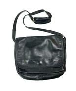 Vintage Lands End Black Leather Satchel Messenger Bag  - $59.40