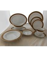30 p SANGO Hampton Gold DINNERWARE LOT Gravy DINNER PLATE SOUP BOWL cup ... - $223.73
