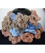 Cascading Petals Necklace Scarf ~ Soft Shades of Blues Corals and Tans - $23.00