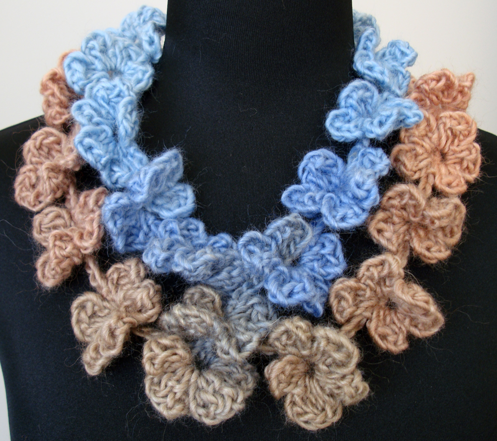 Cascading Petals Necklace Scarf ~ Soft Shades of Blues Corals and Tans