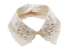 Retro Elegant Lace Beads Detachable False Collar Stand Collar-Lace Flower