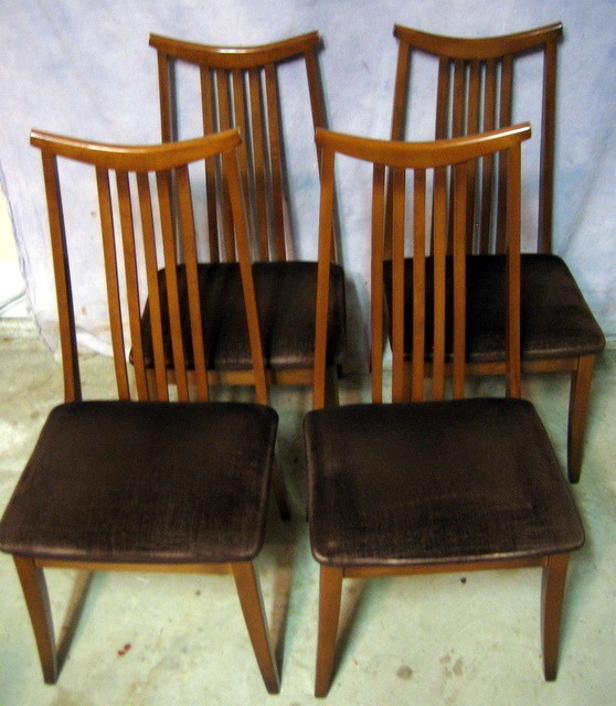 SET 4 DANISH MID CENTURY MODERN TEAK DINING ROOM CHAIRS