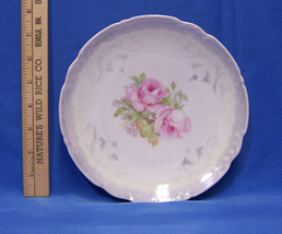 Vintage German Germany Decorative Collectors Plate Pink Rose Green Purpl... - $18.80