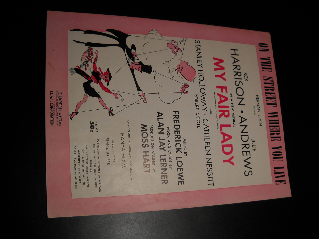 Sheet music on the street where you live my fair lady harrison andrews 1956 lerner loewe chappell music 01
