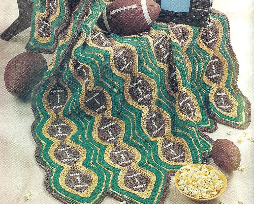 Football Afghan Crochet Pattern~RARE~HTF - Afghans