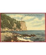 Split Rock Lighthouse Lake Superior Mn Linen Postcard - $6.00