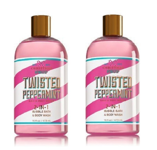Primary image for Bath & Body Works Christmas Shop Twisted Peppermint Bubble Bath/Body Wash x2