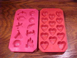 Lot of 2 Rubber Shaped Ice Cube Trays Beach Theme and Hearts - $7.95
