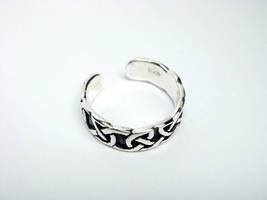 Sterling Silver Celtic Oxidized Adjustable Toe Ring - $11.00