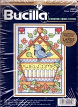 Bucilla Welcome Birdhouse Bird Joan Elliot Counted Cross Stitch Kit 5 x 7 42019 - $17.95
