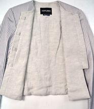 Giorgio Armani Black Label Raise Stripe Silver Grey Jacket Womens 38 Italy image 9