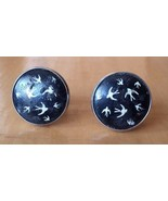 """Round Black Beige Bird Shape Peace Dove Image Cufflinks 1"""" Diameter Grea... - $15.83"""