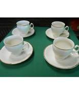 "FORMALITIES by BAUM ""Bernadotte Ivory"" Bohemian Porcelain 4 CUPS & SAUCERS - $74.83"