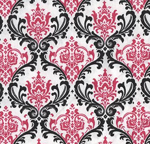 Wedding Black and White Fuchsia Damask Table Napkin Linen