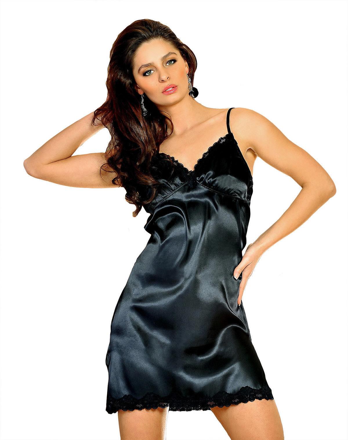 Sexy Satin abito nero Biancheria da Notte Lingerie Perizoma Camicia S/M L/X
