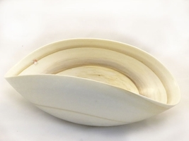 Large Striato Murano glass Ivory and Marble Folded Bowl - $334.00