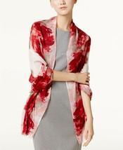 New Calvin klein Scarf & Wrap In One Floral Print Soft Viscose Fringe En... - $14.38