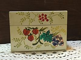 Vintage Tin Retro Fruit Pineapple Design Recipe Card Box // Kitsch Kitchen - $10.50