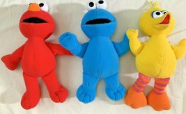 Sesame Street Fisher Price 2002 lot 3 plush dolls Elmo Big Bird Cookie M... - $9.89