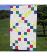 Gender Neutral Crib Quilt / Baby Quilt Primary Color Jumble Handmade - $84.00