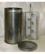 Vintage Ice Cream Dasher Paddle Insert and Tin with Lid Metal and Wood - $49.99