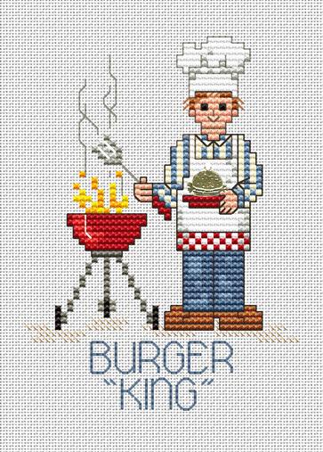 Burger King Post Stitches cross stitch chart with charm Sue Hillis Designs