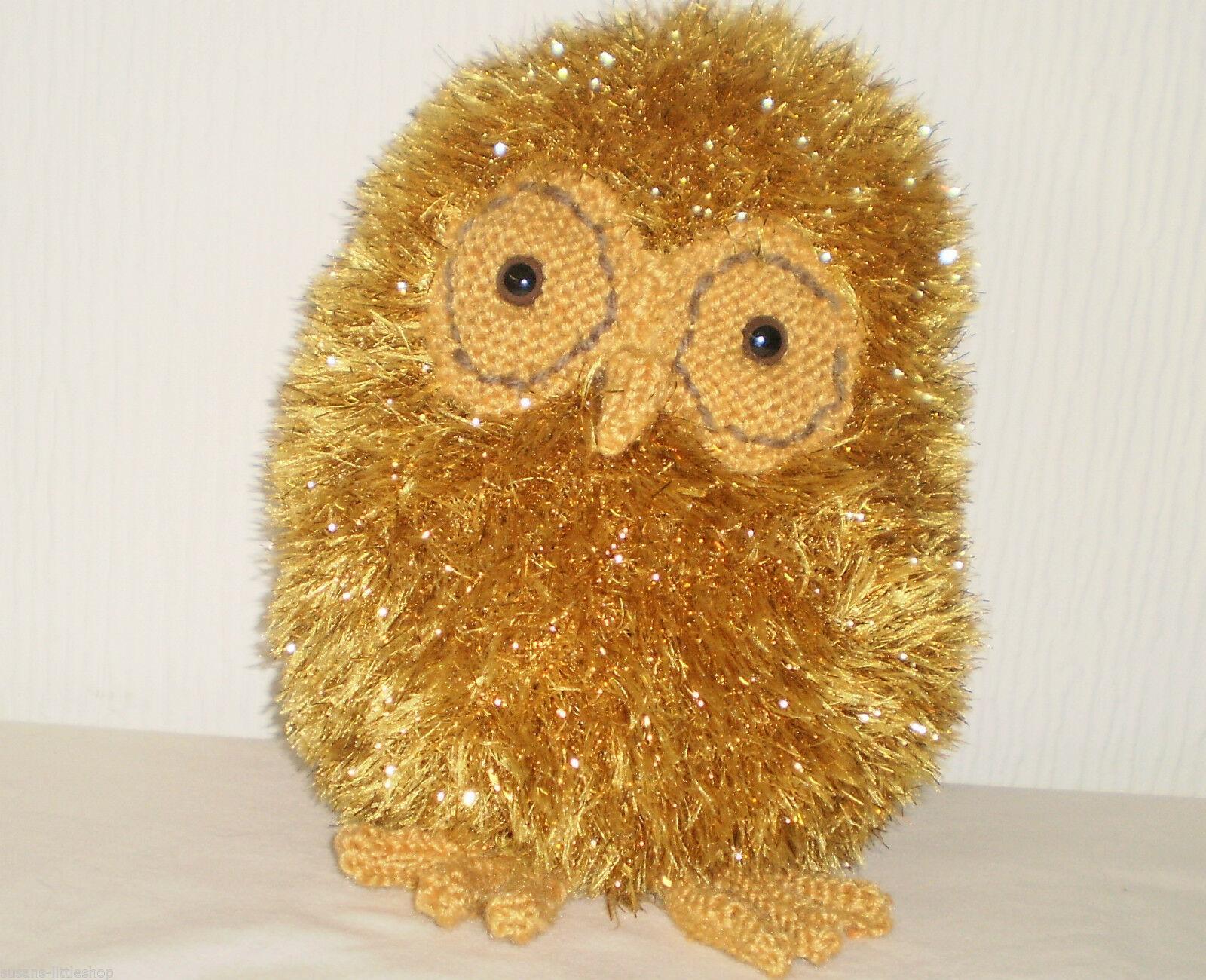 Fluffy Gold Sparkly Hand made Soft Toy Plush Bird Owl
