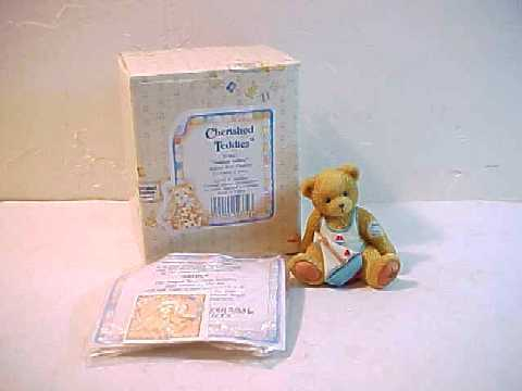 "1993 Cherished Teddies ""Arthur"" August Monthly Bear Figurine -MIB"