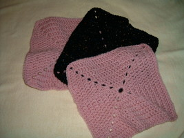 Hand Crafted Crocheted Dish Clothes Pink Black Set of 3 - $8.50