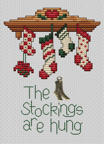 Stockings Are Hung Post Stitche cross stitch chart with charm Sue Hillis Designs