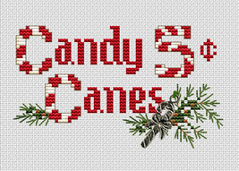 Candy Canes Post Stitches cross stitch chart with charm Sue Hillis Designs - $5.40