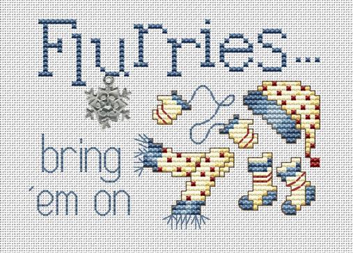 Flurries Post Stitches cross stitch chart with charm Sue Hillis Designs