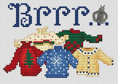 Brrr Post Stitches cross stitch chart with charm Sue Hillis Designs