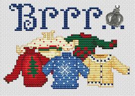 Brrr Post Stitches cross stitch chart with charm Sue Hillis Designs image 1