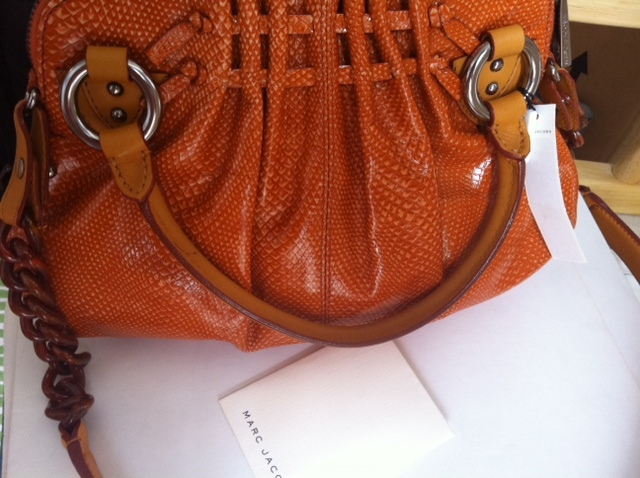 MARC JACOBS Collection Cecilia leather snake embossed BAG orange $1,400 NEW NWT