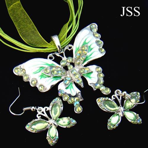 Jss dainty butterfly crystal necklace earring set