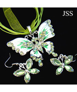 Dainty Butterfly Crystal Necklace and Earring Set - $16.25