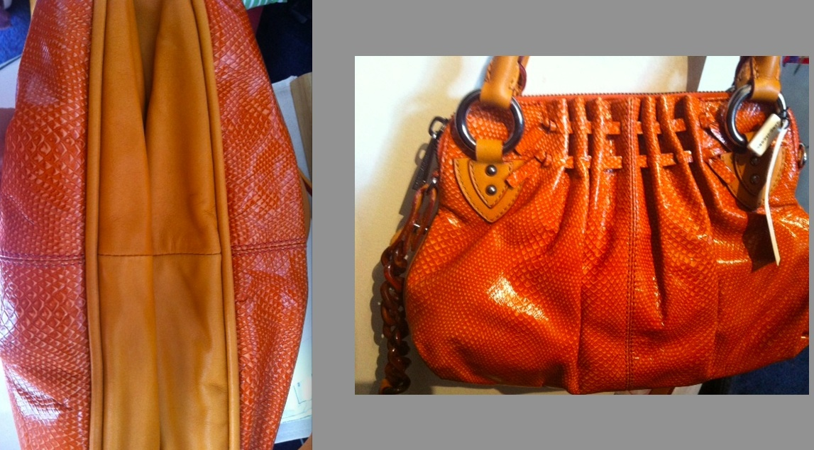 MARC JACOBS Collection Cecilia leather snake embossed BAG orange  1 4441168658ca3