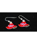 Red Hat Earrings Purple Band & Flowers - $4.95