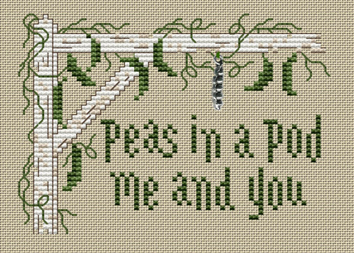 Peas In A Pod Post Stitches cross stitch chart with charm Sue Hillis Designs