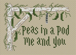 Peas In A Pod Post Stitches cross stitch chart with charm Sue Hillis Designs image 1